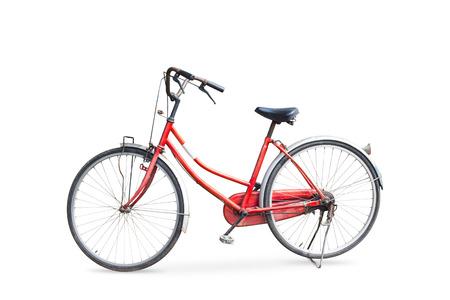 Oude fiets op een witte achtergrond Stockfoto