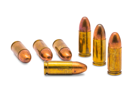 Close up of 9 mm  bullets, isolated  on white background with clipping path photo