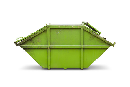 Green tank for municipal waste or industrial waste, isolated on white background with clipping path