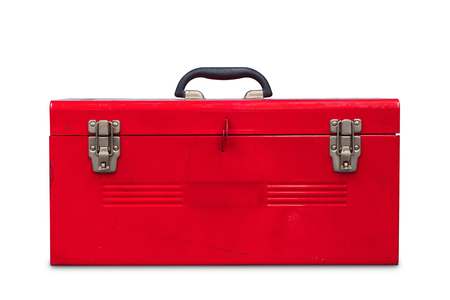 Old red steel toolbox, isolated on white background with clipping path 免版税图像