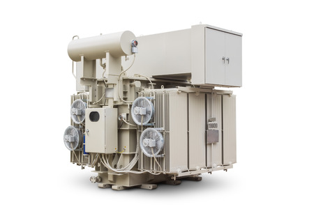 three phase: Three phase 10000 kVA or 10 MVA conservator type with radiator fin equips with forced air cooling fan, oil immersed power transformer, isolated on white background