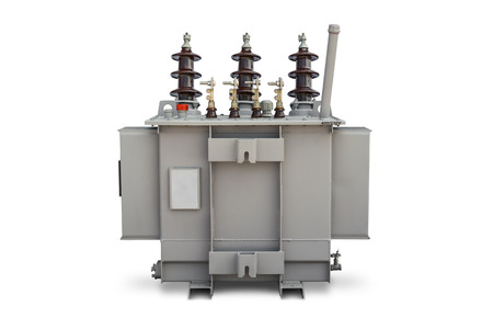power pole: Three phase  100 kVA  pole mounted corrugated fin hermetically sealed type oil immersed transformer Stock Photo
