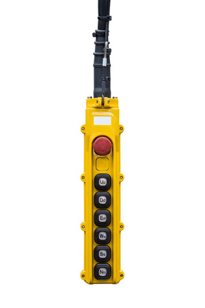 overhead crane: Movement remote control pendant switch for overhead crane, isolated on white background with clipping path Stock Photo