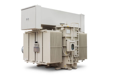 three phase: Three phase 10000 kVA (or 10 MVA) conservator type with radiator fin equips with forced air cooling fan, oil immersed power transformer, isolated on white background with clipping path