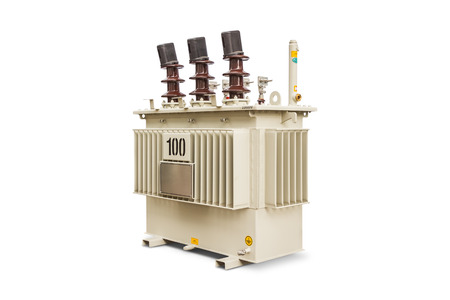 hermetic: Three phase (100 kVA) corrugated fin hermetically sealed type oil immersed transformer, isolated on white background with clipping path