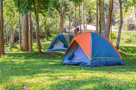 Koepel tenten kamperen op Bang Krang Kamp in Kaeng Krachan National Park, Thailand Stockfoto