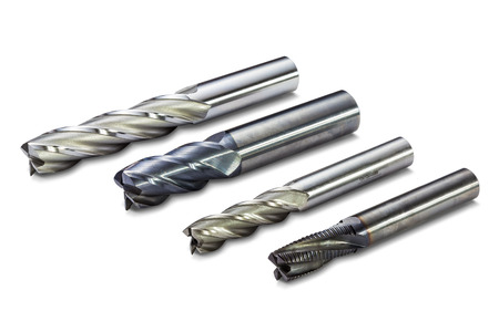 End mill cutters isolated on white background with clipping path