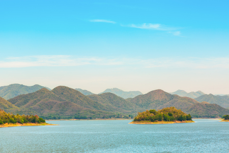 kaeng: Lake and hill at Kaeng Krachan national park in Phetchaburi province Thailand