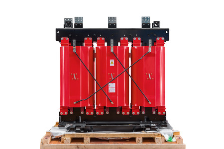 Dry type cast resin transformer for indoor installation isolated on white background