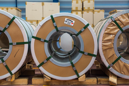 silicon: Cold rolled steel or silicon steel coils in storage area in warehouse Stock Photo