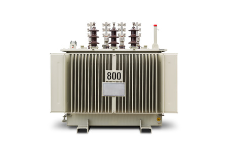 Three phase 800 kVA corrugated fin hermetically sealed type oil immersed transformer, isolated on white background with clipping path