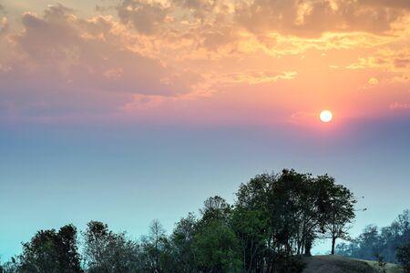 thailand view: Beautiful sunset at Doi Samer Dao in Nan province, Thailand