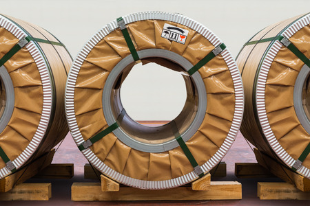 silicon: Cold rolled steel or silicon steel coils in storage area in the warehouse