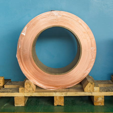 Copper rolled product or copper foil sheet in storage area, conductor raw material for transformer manufacturing