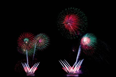 festive occasions: Fireworks in black sky, new year or independence day celebration