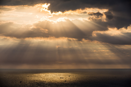 crepuscular: Crepuscular sun rays during sunset over the sea, Thailand
