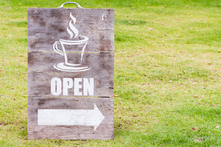 shop sign: Wooden open sign board for coffee shop or cafe Stock Photo