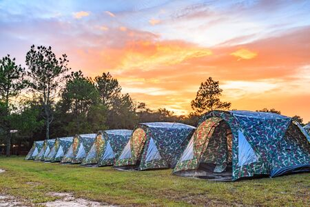 kradueng: Tents camping area at dusk on Phu Kradueng National Park, Loei province, Thailand, HDR image