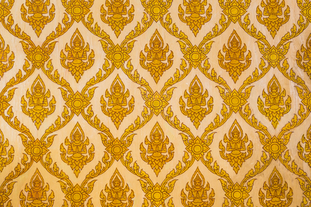 textured wall: Traditional Thai art pattern on the buddhist church wall Stock Photo