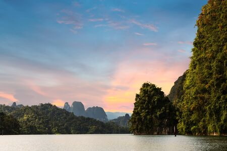 View of Cheow Lan Ratchaprapa reservoir in Surat Thani province, Thailand Stock Photo