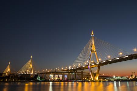 bhumibol: Bhumibol Bridge or Industrial Ring Road bridge at dusk