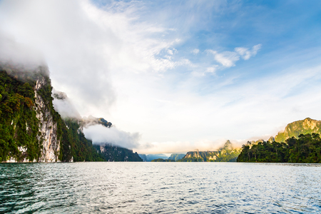 surat: Lake and cliff and mountains of Cheow Lan Ratchaprapa reservoir, Surat Thani province, Thailand Stock Photo