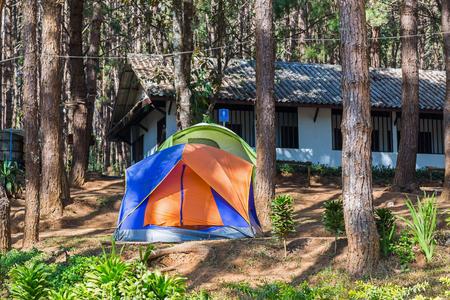 camping site: Dome tents in camping site at Pang Ung Pang Tong reservoir, Mae Hong Son province, Thailand