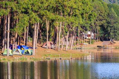 camping site: Dome tents beside the lake among pine trees in camping site at Pang Ung Pang Tong reservoir, Mae Hong Son province, Thailand Stock Photo