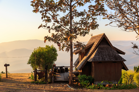 hospedaje: Lodging houses at Mae Chaem in the morning, Chiang Mai province, Thailand