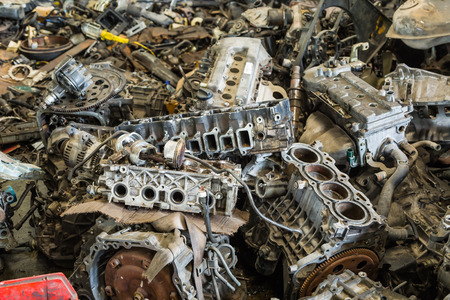 scrap car: Scrapheap of car engine and transmission Stock Photo