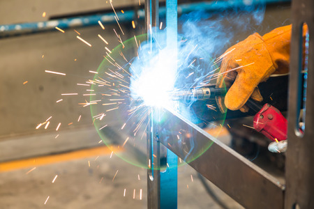 mig: Gas metal arc welding especially metal inert gas or MIG welding with lens flare causes by arcing light
