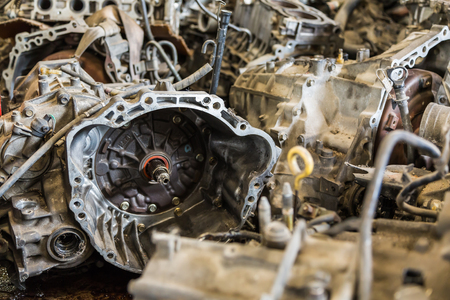 Scrapheap of old car automatic transmission Stock Photo