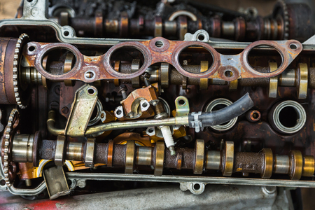 pile engine: Scrapheap of old car engine parts