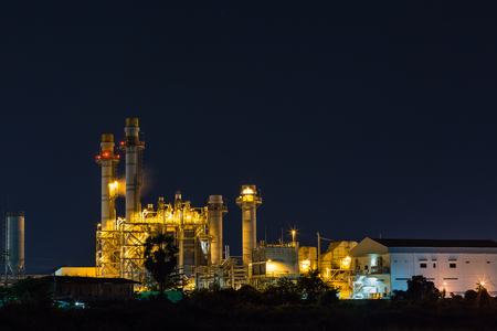 gas turbine: Electrical power plant (possibly gas turbine power plant) at night
