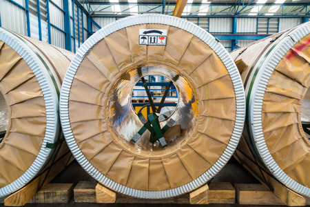cold storage: Cold rolled steel or silicon steel coils in storage area in warehouse or in factory