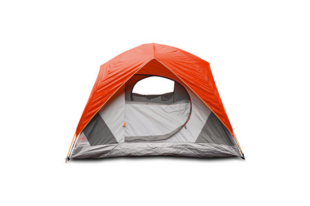 camping tent: Orange dome tent, isolated on white background with clipping path