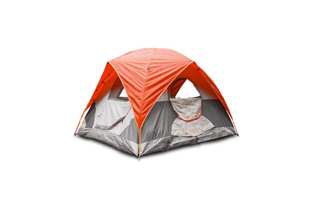 flysheet: Orange dome tent, isolated on white background with clipping path