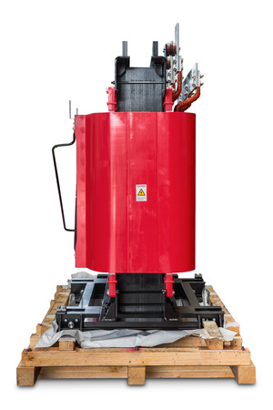Dry type cast resin transformer for indoor installation, isolated on white background with clipping path, side view