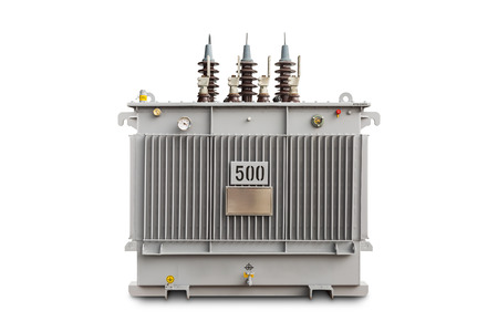 Three phase (500 kVA) hermetic sealed type with nitrogen gas cushion oil immersed transformer, isolated on white background with clipping path Reklamní fotografie