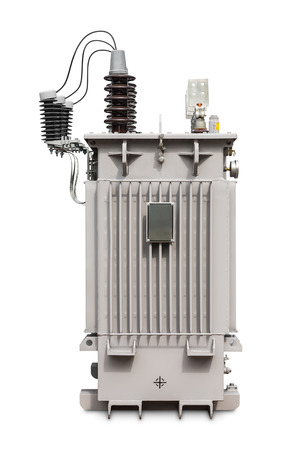hermetic: Three phase (500 kVA) hermetic sealed type with nitrogen gas cushion oil immersed transformer, isolated on white background with clipping path, side view