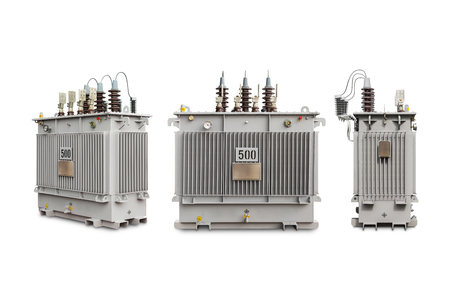 three phase: Three phase (500 kVA) hermetic sealed type with nitrogen gas cushion oil immersed transformer, isolated on white background with clipping path Stock Photo