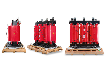 three phase: Dry type cast resin transformer for indoor installation, isolated on white background with clipping path