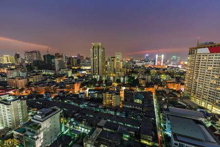 nightfall: Bangkok various high-rise buildings including famous luxury hotels, condominiums, commercial buildings at twilight Stock Photo