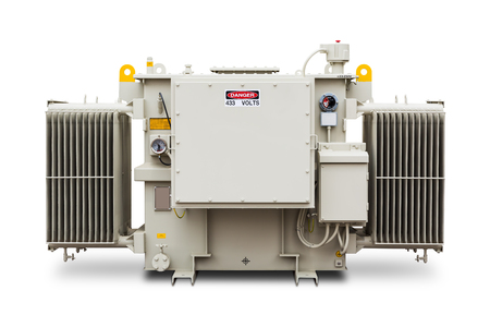 three phase: Three phase (1500 kVA) radiator fin hermetic sealed type with nitrogen gas cushion oil immersed transformer, isolated on white background with clipping path Stock Photo
