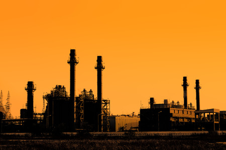 gas turbine: Silhouette of gas turbine electrical power plant at sunset