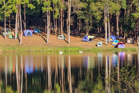 camping site: Camping site at Pang Ung (Pang Tong reservoir), Mae Hong Son province, Thailand Stock Photo
