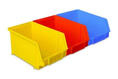 storage bin: Industrial plastic parts bins isolated on white background