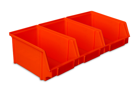 storage bin: Industrial red plastic parts bins isolated on white background Stock Photo
