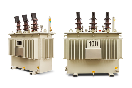 phase: Three phase (100 kVA) corrugated fin hermetically sealed type oil immersed transformer, isolated on white background