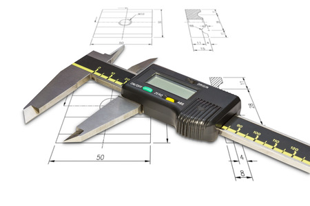 calipers: Digital vernier calipers, isolated on drawing background